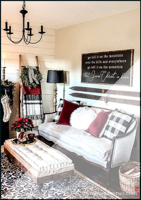Black White and Burgundy Christmas Decor Black White and Burgundy Christmas Decor Carla B Carla B  Go Tell it on the Mountain  sign and vintage skis  … #Black #Burgundy #Carla #Christmas #Decor #Mountain #sign #skis #traditional Living Room burgundy #Vintage