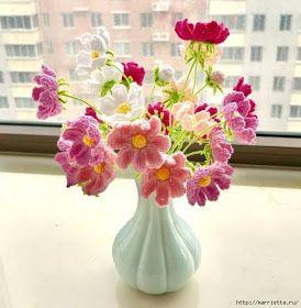 Mazzo Di Fiori Uncinetto.Uncinetto D Oro Bellissimo Mazzo Di Fiori Crochet Flowers