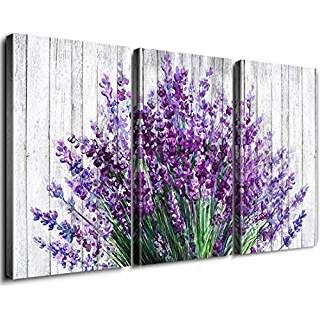 Rustic Home Decor Canvas Wall Art Retro Style Purple Lavender Flowers Picture On White Vintage Wood Background Purple Wall Decor Lavender Walls Flower Wall Art
