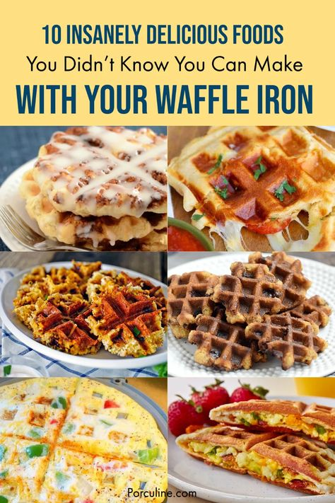 Delicious brownies, awesome donut or yummy cinnamon rolls are some recipes you can make with your waffle iron. Want to know more recipes? Check these 10 Easy Recipes You Can Make With Your Wafffle Iron! #waffles #waffleiron #waffleironrecipes #waffleironrecipesbreakfast #porculine