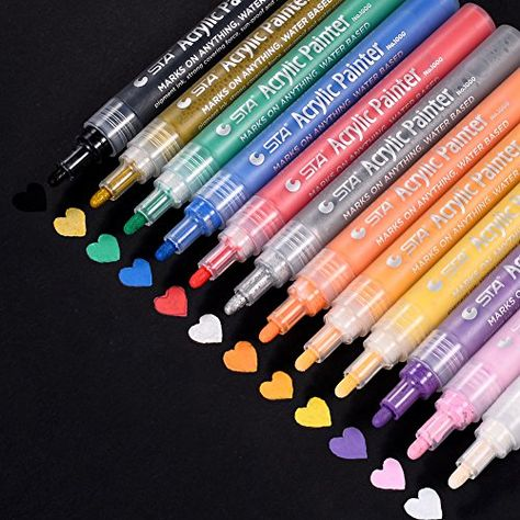 Acrylic Paint Pens for Rock Painting 24 Vibrant Colors Paint Markers Kit for Gl