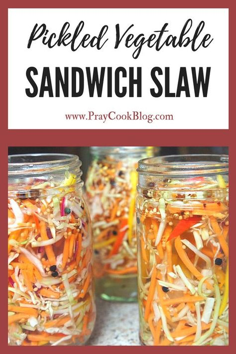 colors look amazingly delicious. and I'll let you in on a little-known secret - this pickled vegetable sandwich slaw IS delicious! TRY IT TODAY! Vegetable Recipes, Vegetarian Recipes, Healthy Recipes, Pickeling Recipes, Cooker Recipes, Healthy Food, Dinner Recipes, Ramen Recipes, Jelly Recipes