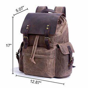 2e532a03d386 SUVOM Vintage Canvas Leather Laptop Backpack for Men School Bag 15.6 ...