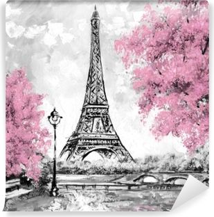 Oil Painting Paris European City Landscape France Wallpaper Eiffel Tower Black White And Pink Modern Art Wall Mural Pixers We Live To Change Eiffel Tower Painting Eiffel Tower Photography Paris Painting