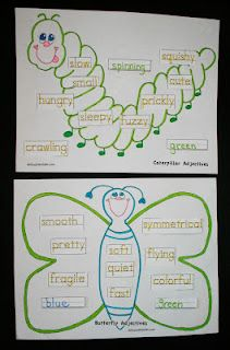 Butterfly Caterpillar Adjectives  -  Pinned by @PediaStaff – Please Visit http://ht.ly/63sNt for all our pediatric therapy pins