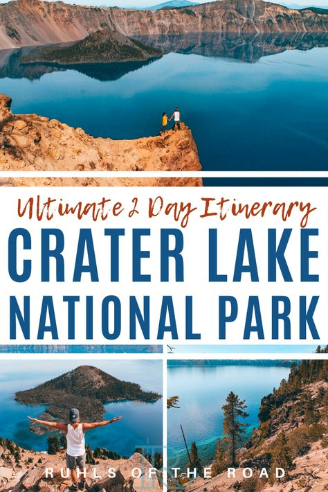 2 Day Itinerary to Crater Lake National Park Oregon - - Crater Lake is one of the most unique and incredible sites in the world. We wrote a 2 day Crater Lake hiking guide for you to see everything in the park! Crater Lake Hikes, Crater Lake Lodge, Crater Lake Oregon, Crater Lake National Park, Crater Lake Camping, Oregon Camping, Oregon Road Trip, Oregon Travel, Travel Usa