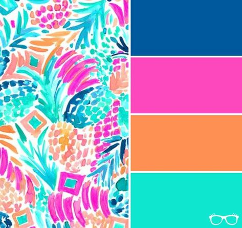Take a look at these bright, bold, colorful palettes inspired by Lily Pulitzer patterns. Each color has the corresponding hex code included for easy copy and paste web use! These fun brights would make a great color palette for your brand or website.