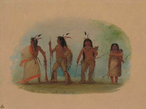 Four Apachee Indians, 1855/1869. Creator: George Catlin. 10 inch Photo. Four Apachee Indians, 1855/1869. Quoth-e-qua-ra (chief) with Mine-sin-ne.