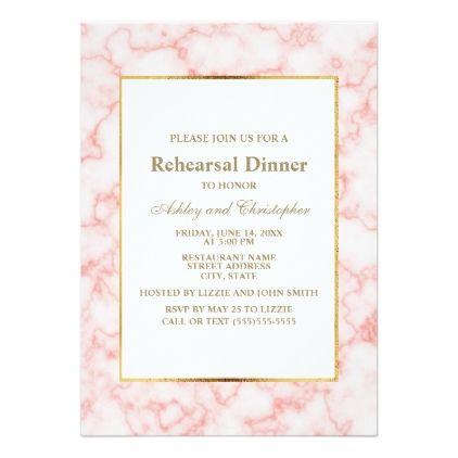 Elegant Trendy Pink Marble Wedding Rehearsal Invitation Zazzle Com Marble Wedding Marble Invitation Wedding Bridal Shower Cards