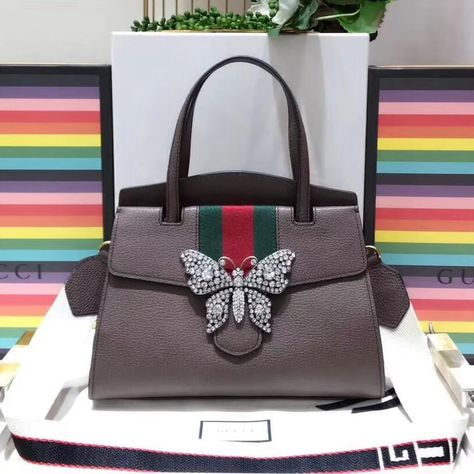 83f7ce8eae99 Gucci GucciTotem Medium Top Handle Bag With Crystal Butterfly 505342 Brown  2018