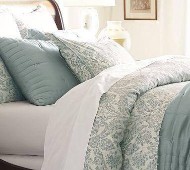Samantha Damask Cotton Sham King Porcelain Blue Organic Duvet - Blue and brown damask comforter