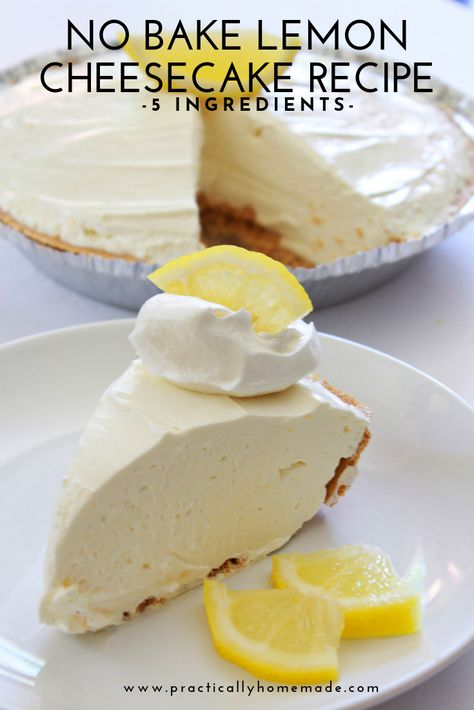 No Bake Lemon Cheesecake Recipe with 5 ingredients, a recipe featured by top . Food Blogs, Lemon Cheesecake Recipes, Homemade Cheesecake, Keto Cheesecake, Unbaked Cheesecake, Cream Pie Recipes, Classic Cheesecake, 5 Ingredient Recipes, Salty Cake