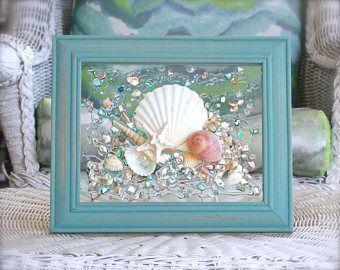 Seaglass Art Sea Glass Wall Art Beach Glass Art Seashell Art