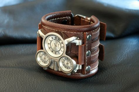 65cea7301 Steampunk Watch with Riveted Aged Brown Leather Cuff, Men's Leather ...