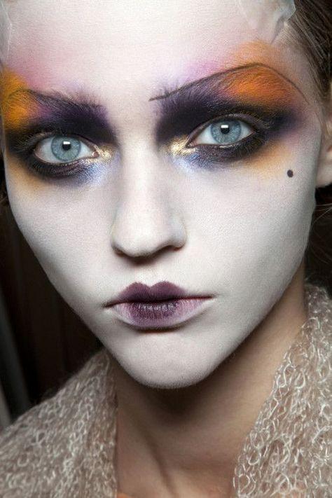 Sasha Pivovarova exhibits an icy glare with arty and intense makeup by Pat McGrath backstage at John Galliano Spring/Summer 2011
