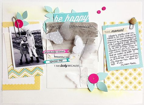 Be Happy Scrapbook Layout by Danielle Flanders for Papertrey Ink (March 2014)