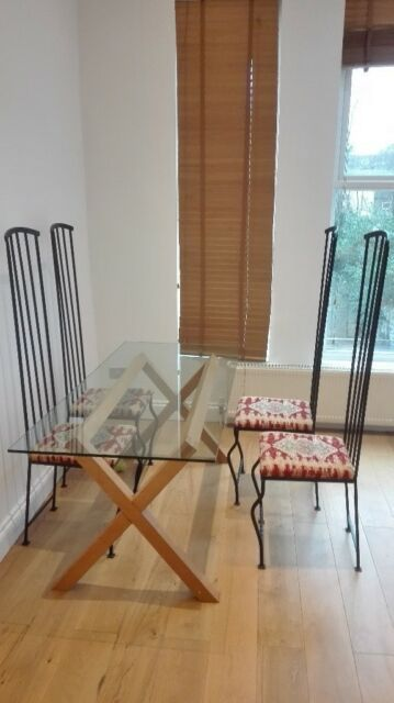 Glass Wood Dining Table Habitat With Wrought Iron Chairs In