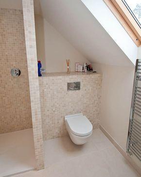 Shower Room Under Eaves Sloped Ceiling Over Toilet Attic Rooms Small Bathroom Design Attic Room Ideas Lof Loft Bathroom Loft Conversion Bathroom Layout