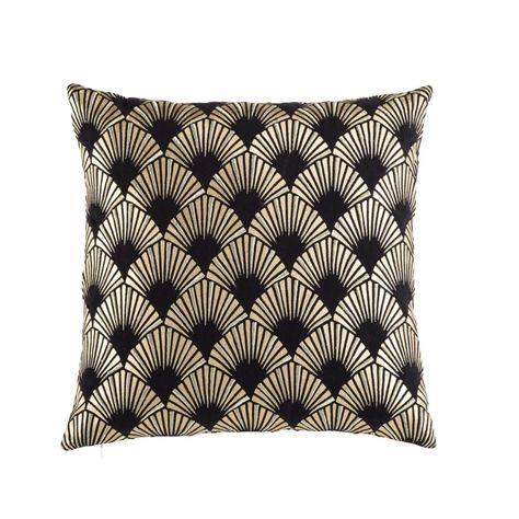 Federe Cuscini Maison Du Monde.Cuscino In Cotone Nero A Motivi Grafici Dorati 45x45 Nel 2020