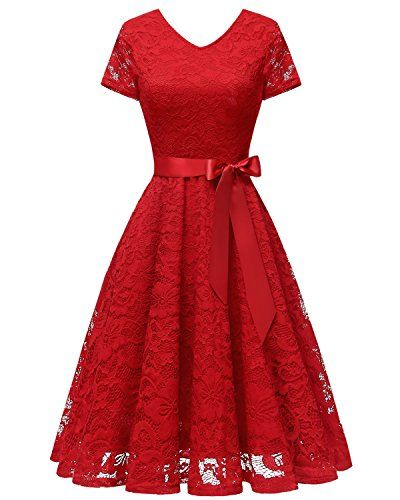 46c902729601e Great for Bridesmay Bridesmay Women V Neck Floral Lace Cocktail Party  Bridesmaid Dress with Sleeves Women's Fashion Clothing online.