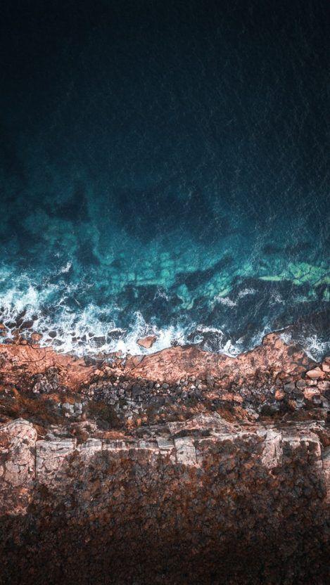 Beach Rocks Transparent Blue Water Sky View Iphone Wallpaper