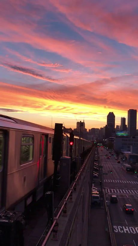 Stunning Nyc Sunset No Filter Shot From Queens Sunset City