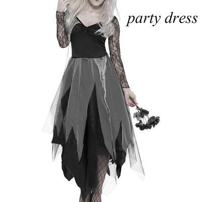 Zombie Graveyard Corpse Bride Ladies Horror Halloween Fancy Dress Costume