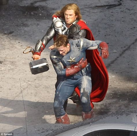 Captain America & Thor Fighting Together on Set of The Avengers, Many Large Images
