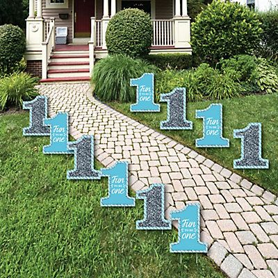 Fun To Be One 1st Birthday Boy Lawn Decorations Outdoor Party Yard 10 Piece Dotofhiness