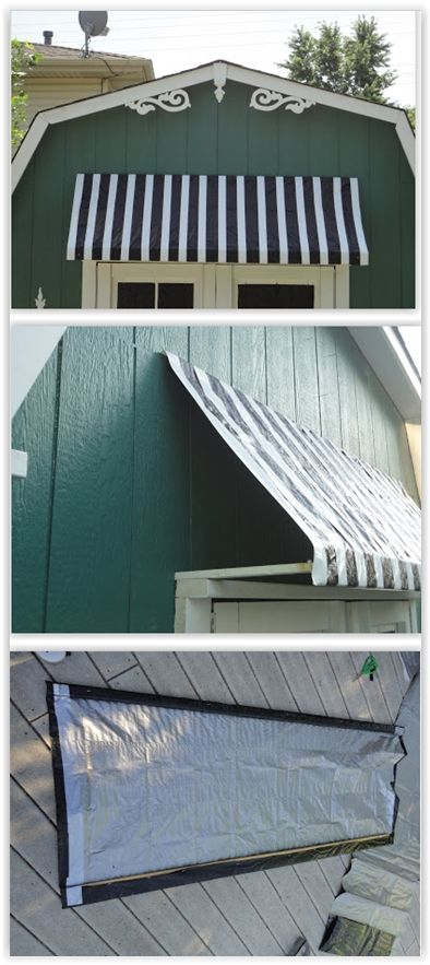 Simple Awning For A Shed Using A Black Tarp Duct Tape Furring Strips To Create An Awning For Her Shed Diy Awning Outdoor Curtains Diy Outdoor Awnings