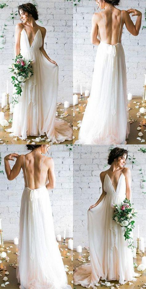 White A-Line Deep V-Neck Open Back Party Dresses,Simple Spaghetti Straps Sleeveless Bridal Dresses.754