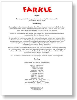 picture regarding Farkle Rules Printable known as Farkle Suggestions PDF - Free of charge Printable Farkle Cube Sport Legislation