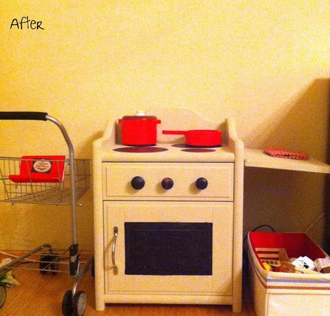 We Three Mothers: Upcycled Kids Oven from 80's nightstand