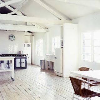 Witte geschilderde vloeren