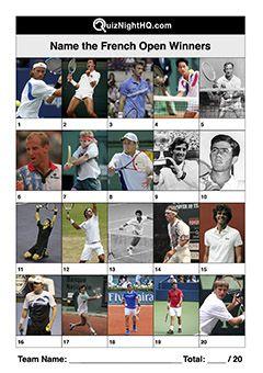 Tennis 003 French Open Winners Men Trivia Events Winner