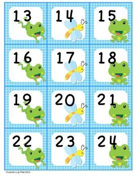 Calendar Number Cards Frog Pond Theme Calendar Numbers Number Cards Cards