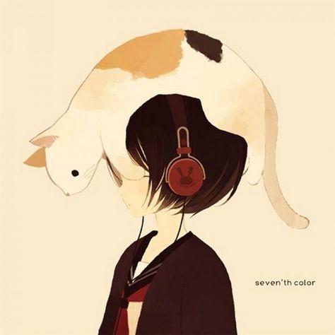 anime, art, cat, cute