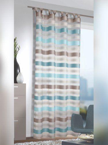 Elegante Gardine Mit Blickdichten Streifen In Turkis Und Grau Masse Ca 245 X 140 Cm Hxb Elegante Gardinen Fensterdekoration Gardinen Waschen