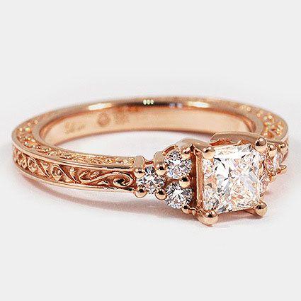 14K Rose Gold Adorned Trio Diamond Ring // Set with a 0.60 Carat, Princess, Very Good Cut, G Color, VS1 Clarity Diamond #BrilliantEarth