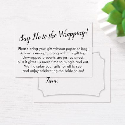 Minimal Say No To Wrapping Bridal Shower Gift Card Zazzle Com