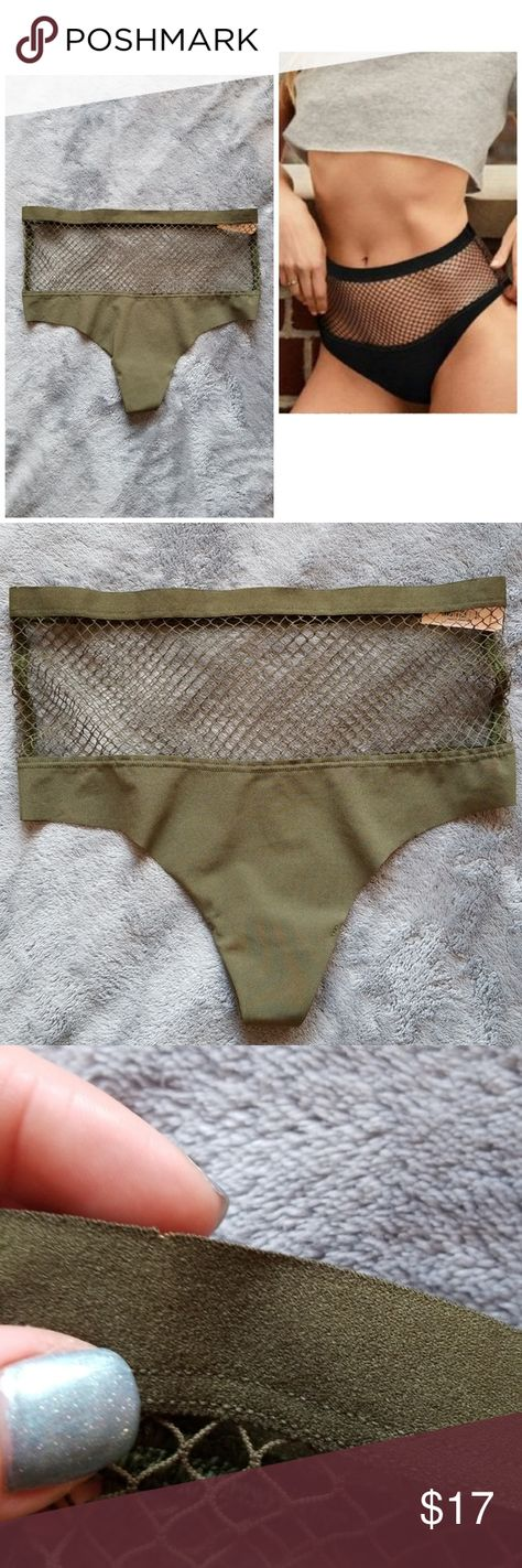 d35064f32e Victoria s Secret high-waist fishnet thong NWT. Size medium. Raw cut high-waist  thong with beautiful