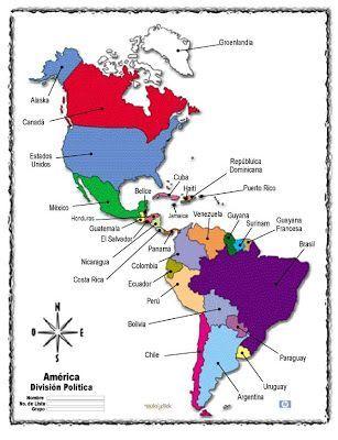 Resultado De Imagen Para Desenho Para Pintar Continente Americano Continente De America Enseñanza De La Geografía Continentes