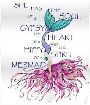 'Mermaid Spirit HIppy Heart Gypsy Soul Diving Mermaid' Poster by Swigalicious Meerjungfrau-Geist-hippes Herz-Zigeuner-Seelentauchen-Meerjungfrau-Plakat