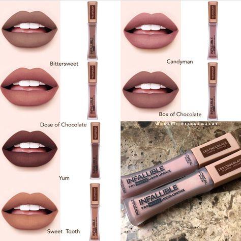 Can't WAIT to try these Pro Matte Les Chocolats Scented Liquid Lipsticks from Loreal! Lipstick Swatches, Lipstick Shades, Lipstick Colors, Lip Colors, Lipsticks, Kiss Makeup, Beauty Makeup, Eye Makeup, Hair Makeup