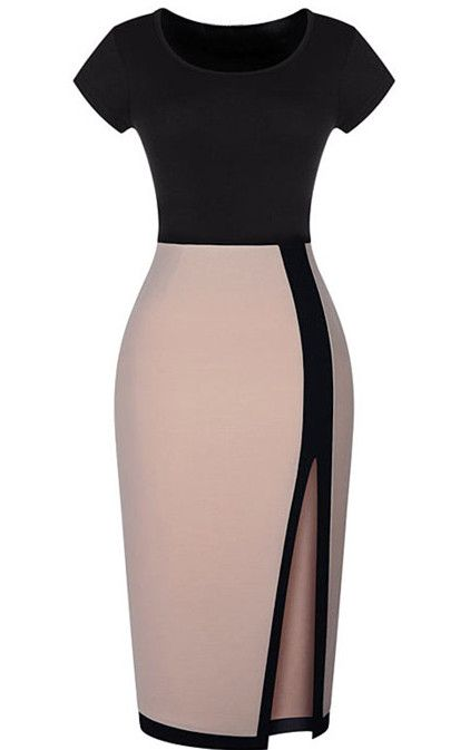 Amazing outfit for work day-Black Apricot Short Sleeve Split Bodycon Dress. Perfect sheath silhouette & well designed detail figure your body well. Long length make it so chic!