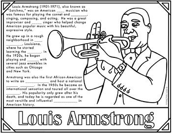 Louis Armstrong What A Wonderful World Coloring Pages W Louis Armstrong Wonders Of The World Louis