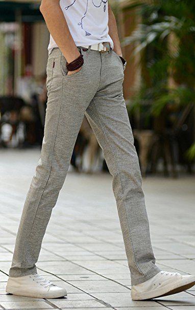 Reslad Herren Hose Leinen Style Freizeithose Jogginghose Stoffhose Strandhose