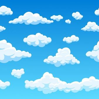 Nube De Patrones Sin Fisuras Y Cielo Azul Ilustracion Cielo Dibujo Cielo Animado Nubes Animadas