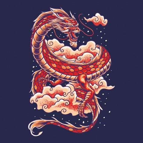 Chinese Dragon With Cloud Illustration