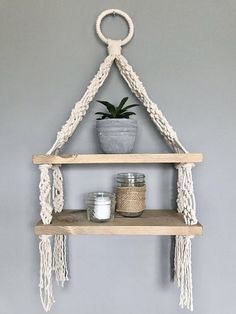 Macrame Double Hanging Shelf // Boho Decor // Modern Macrame